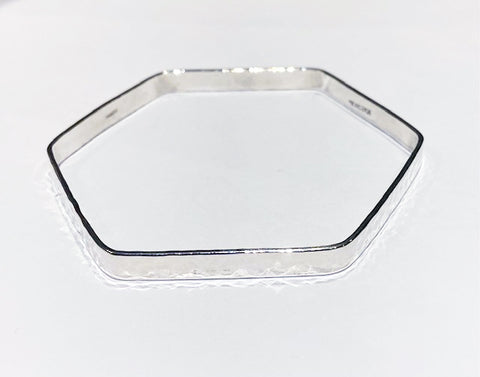 Hexagonal Silver Bangle 1