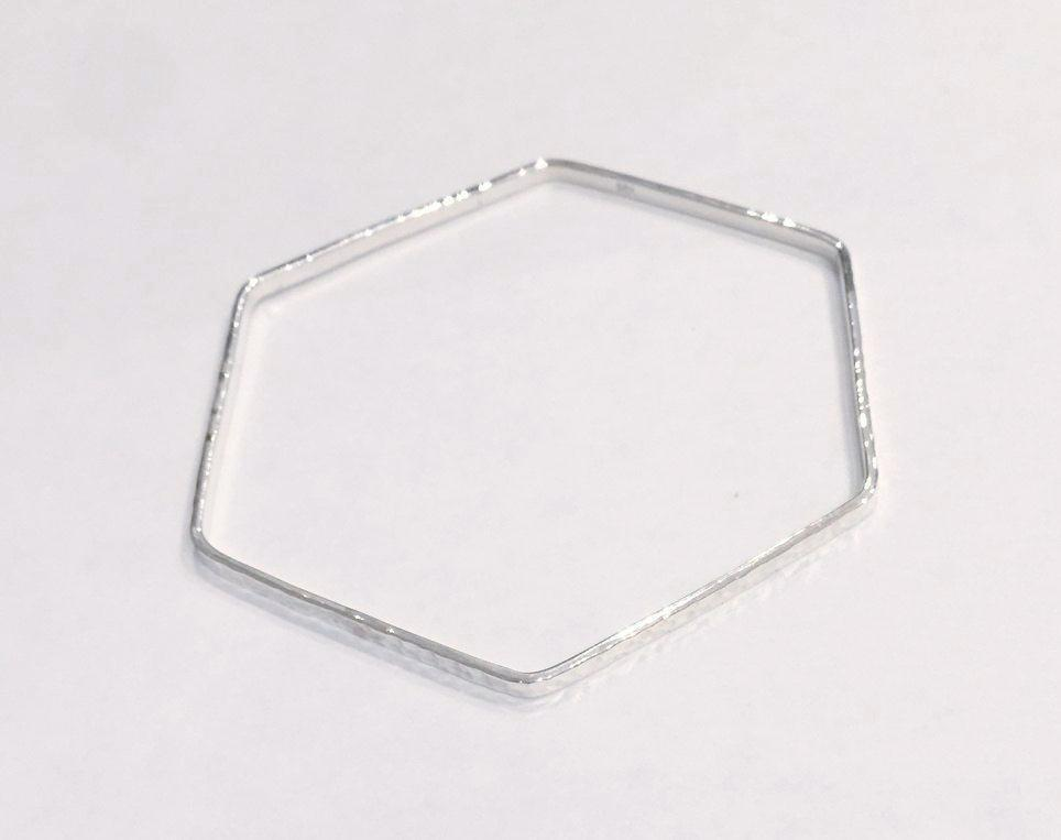 Hexagonal Silver Bangle