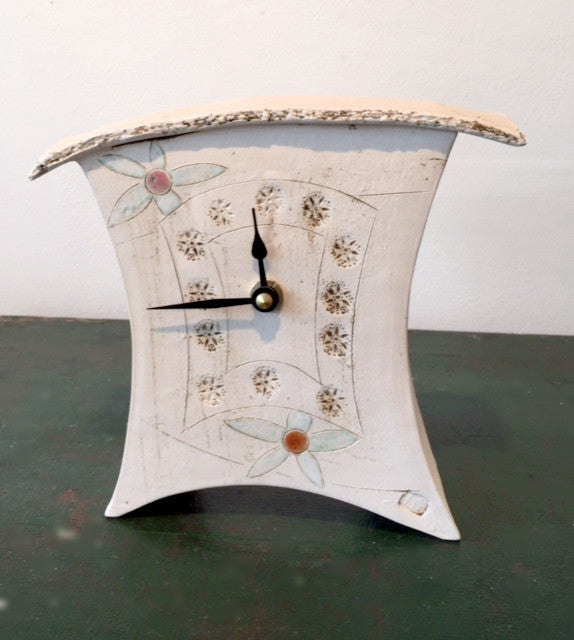 Small Mantel Clock with Flowers