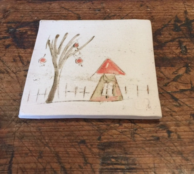 Ceramic Coaster (House with Tree)
