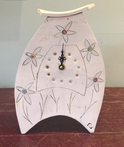 Ceramic Clock with Flowers Design