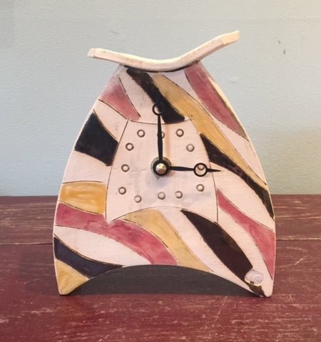 Rounded Ceramic Clock with Stripes