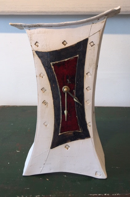 Tall Mantel Clock with Red & Black