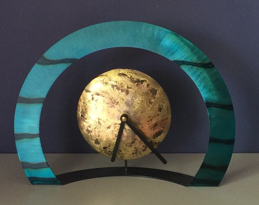 Hoop Clock with Horizontal Lines (Turquoise)