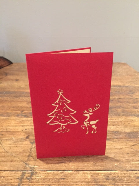 Reindeer with Christmas Tree Card