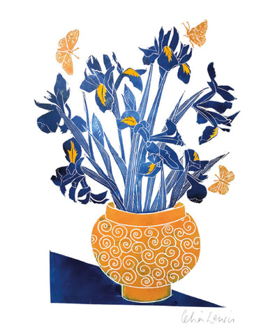 Irises in an Orange Bowl (card)