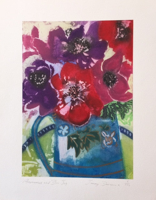 Anemones and Blue Jug