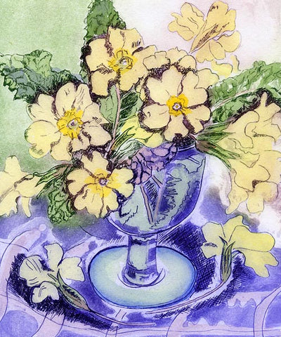 Blue Glass and Primroses