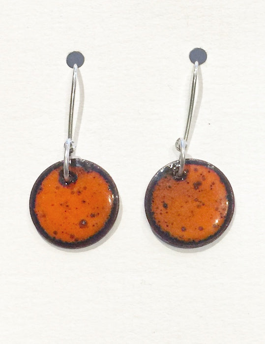Round Enamel Earrings (Orange)