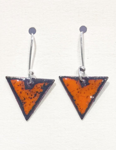 Triangle Enamel Earrings (Orange)