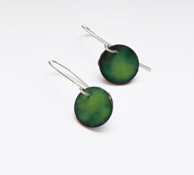 Round Enamel Earrings (Dark Green)