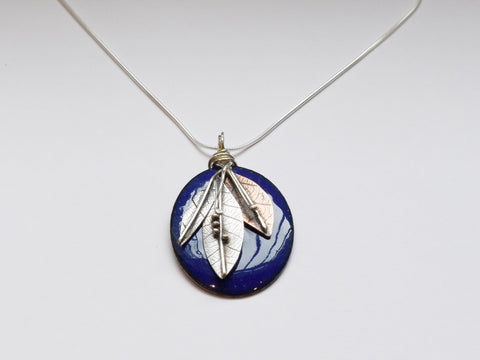 Oval Enamel Pendant (Dark Blue)