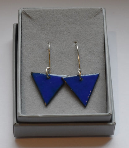 Triangle Enamel Earrings (Dark Blue)