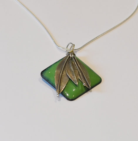 Square Enamel Pendant (Dark Green)