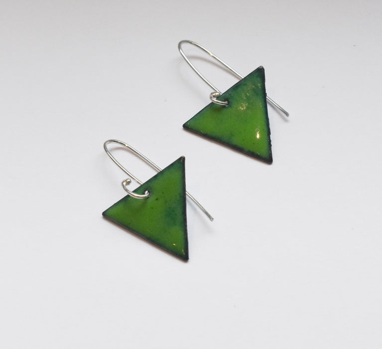 Triangle Enamel Earrings (Dark Green)