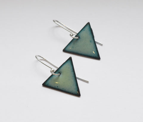Triangle Enamel Earrings (Pale Green)