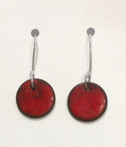 Round Enamel Earrings (Red)