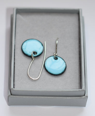 Round Enamel Earrings (Sky Blue)