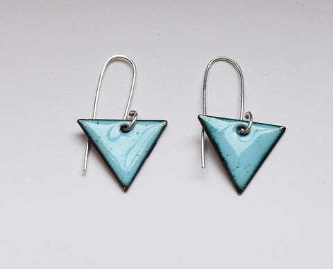 Triangle Enamel Earrings (Sky Blue)