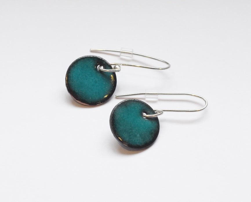 Round Enamel Earrings (Teal)