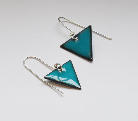 Triangle Enamel Earrings (Teal)