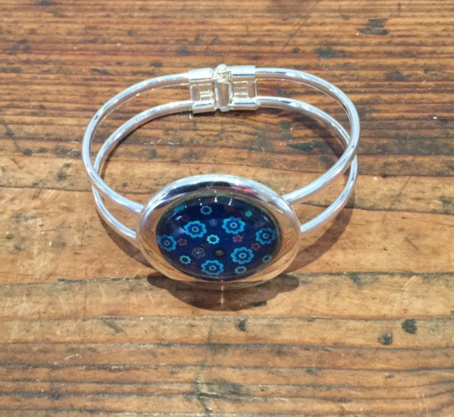 Blue Teal Flower Print Bangle