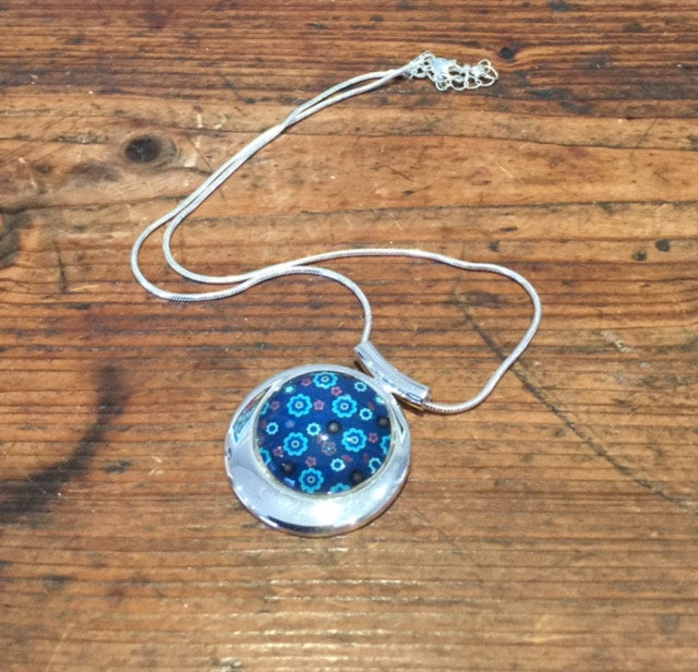 Blue Teal Flower Print Pendant