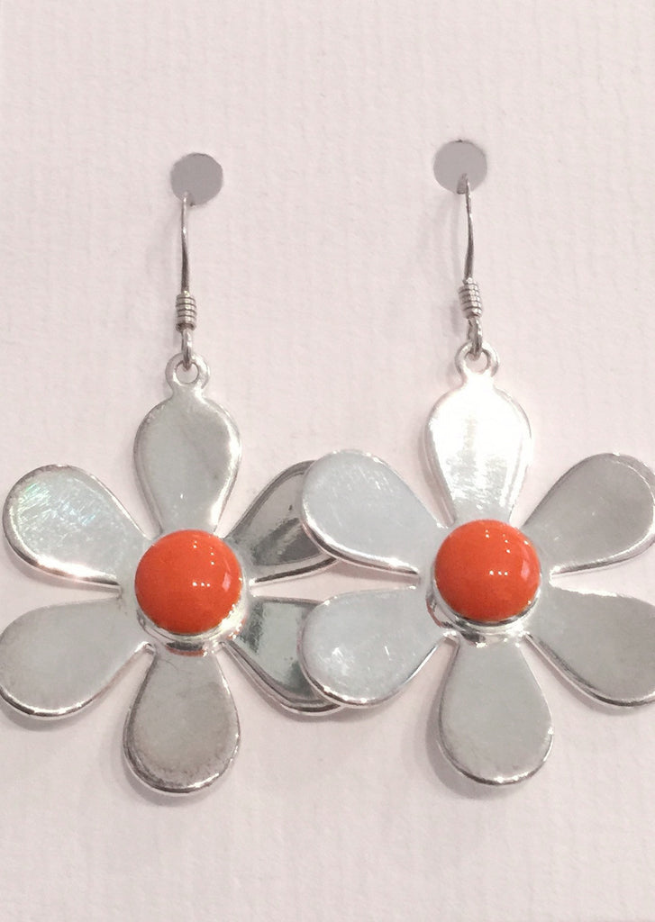 Daisy Flower Earrings (Orange)