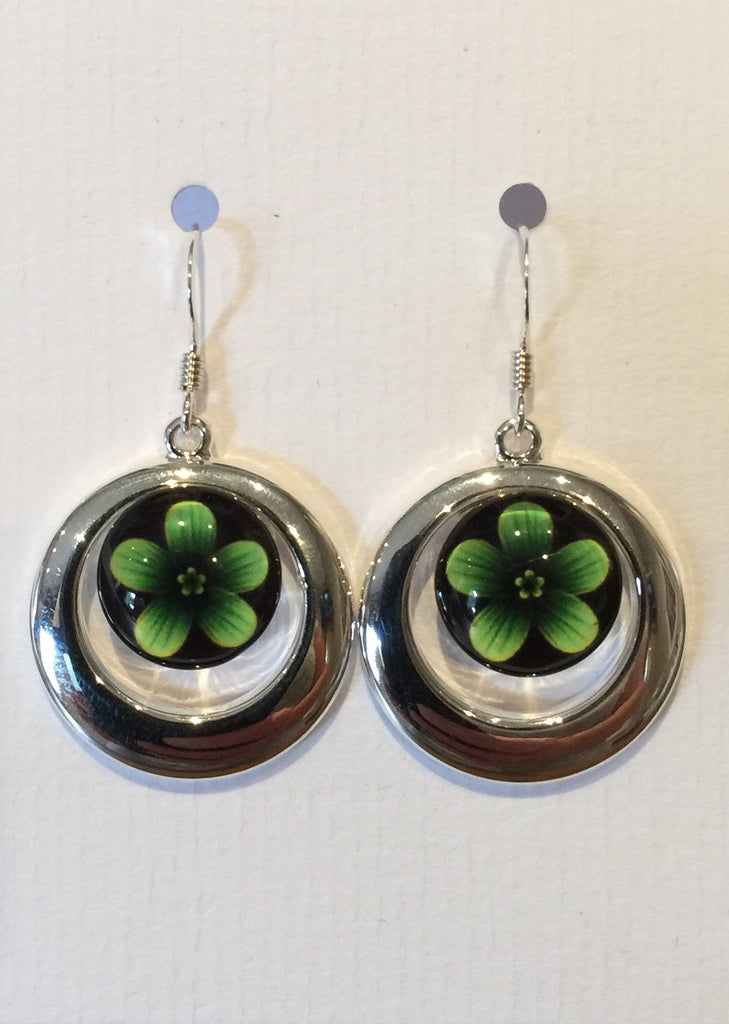 Green Violet Flower Earrings