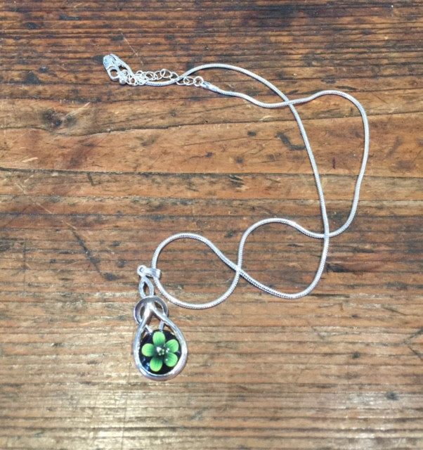 Green Violet Flower Pendant