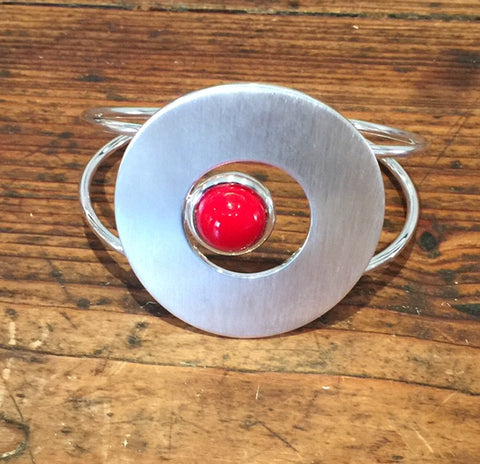 Large Brushed Snail Bangle (Red)
