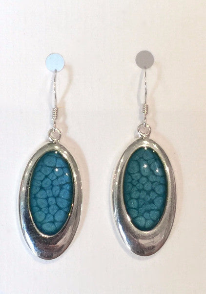 Oval Bubble Effect Earrings (Teal)