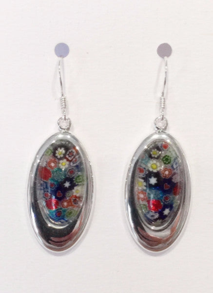 Oval Multi-Flower Earrings (Blue Mix)