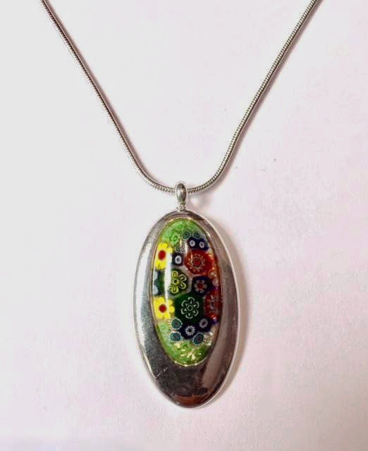 Oval Multi-Flower Pendant (Green Mix)