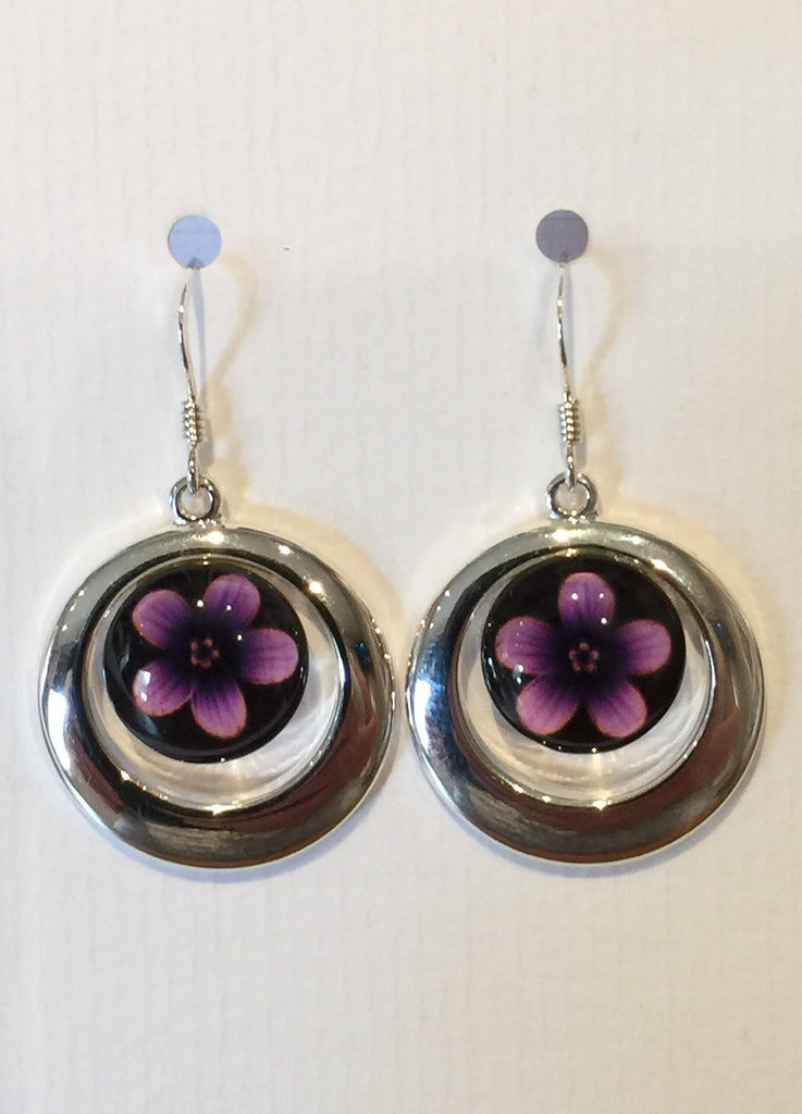 Pink Violet Flower Earrings