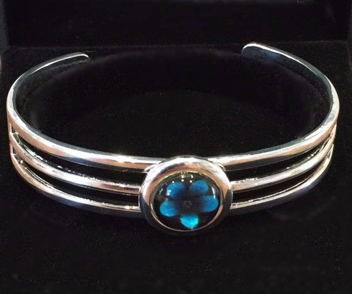 Turquoise Violet Flower Bangle