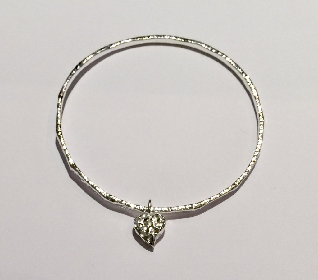 Silver Bangle with Heart Motif 2