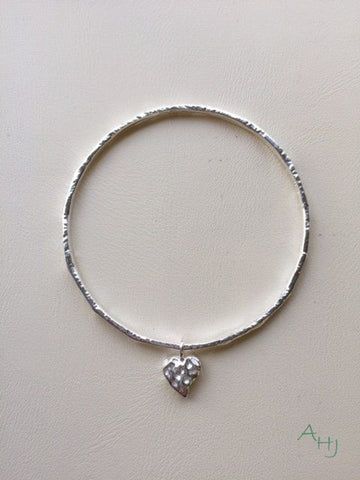 Silver Bangle with Single Heart