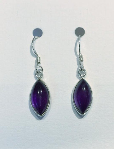 Oval Marquis Earrings (Amethyst)