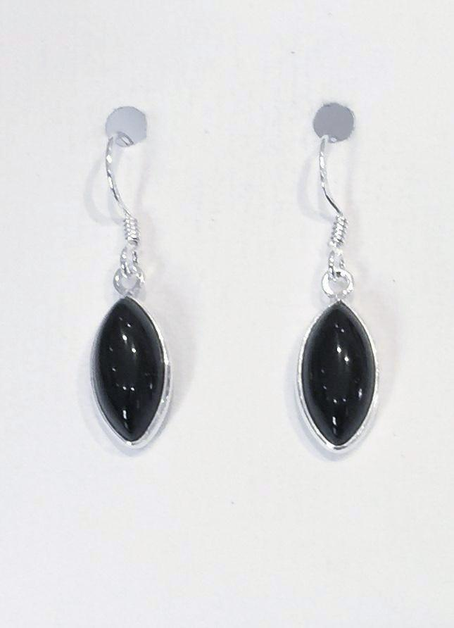 Oval Marquis Earrings (Black Onyx)