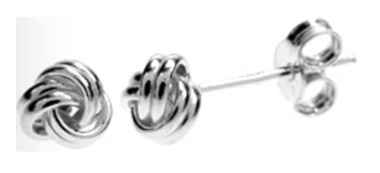 Silver Knot Stud Earrings 2