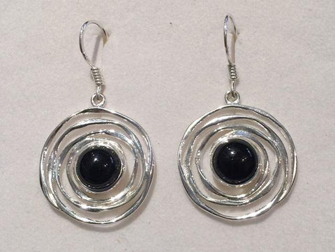 Multi Circle Onyx Earrings