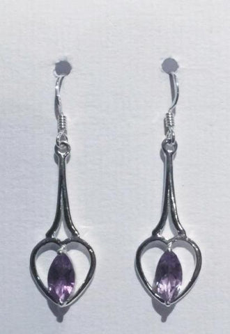 Open Heart Amethyst Earrings I