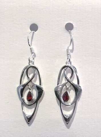 Abstract Earrings (Garnet)