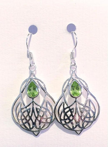 Art Nouveau Floral Style Earrings (Peridot)