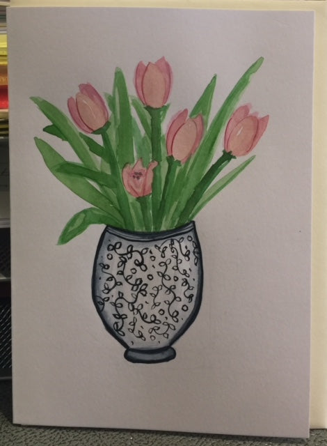 Tulips in a Vase (card)