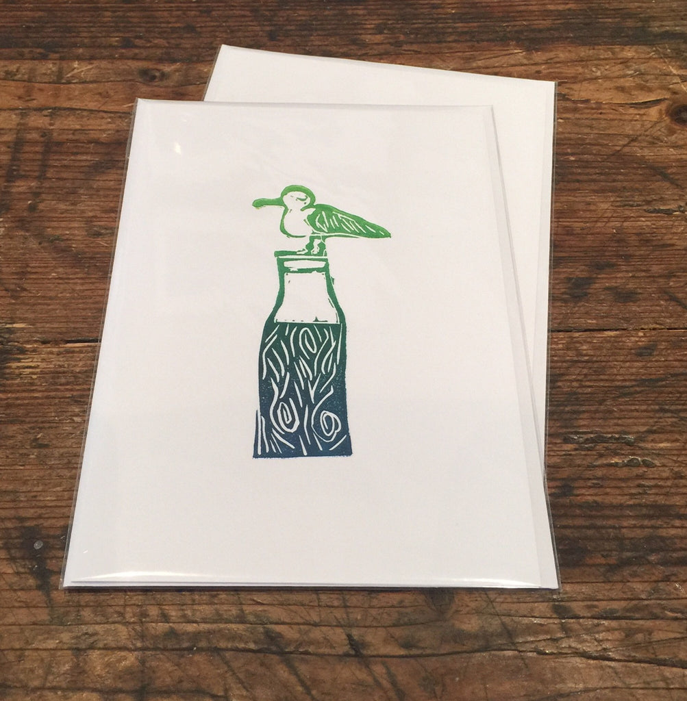 Seagull on Bottle Card (Green)