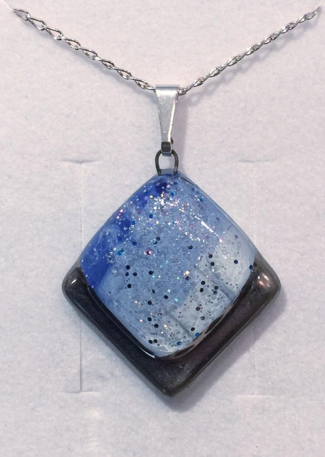 Light Blue Frosted Square Pendant