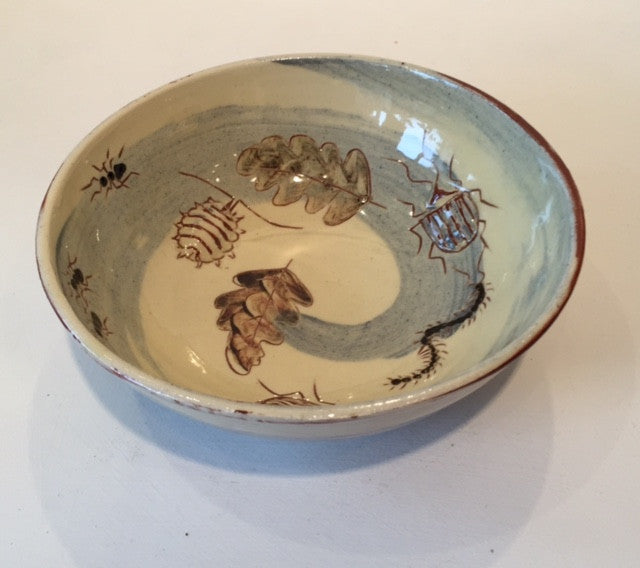 Small Bowl with Beetles and Leaves