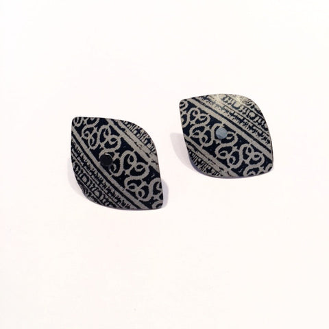 Black Shield Earring Studs